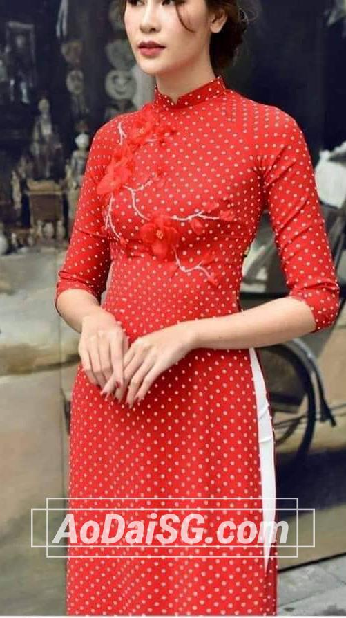 thuê áo dài đỏ chấm bi tại hcm