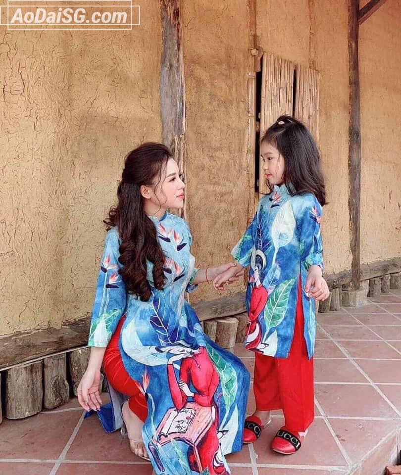 Cho thuê áo dài mẹ và bé