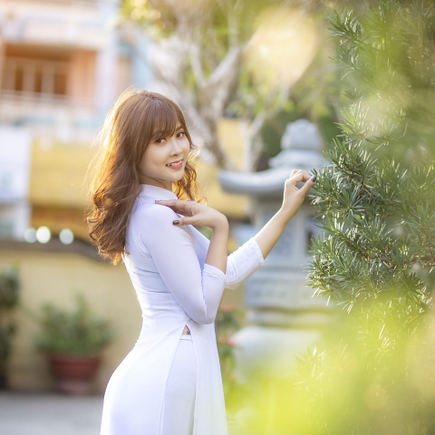 Bộ ảnh áo dài trắng bên nắng chiều